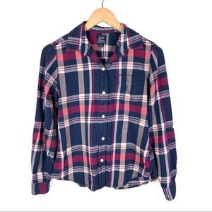 Lucky Brand Blue Red Plaid Flannel Button Shirt